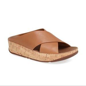 FitFlop Kys Leather Sandal Tan Crisscross Comfort